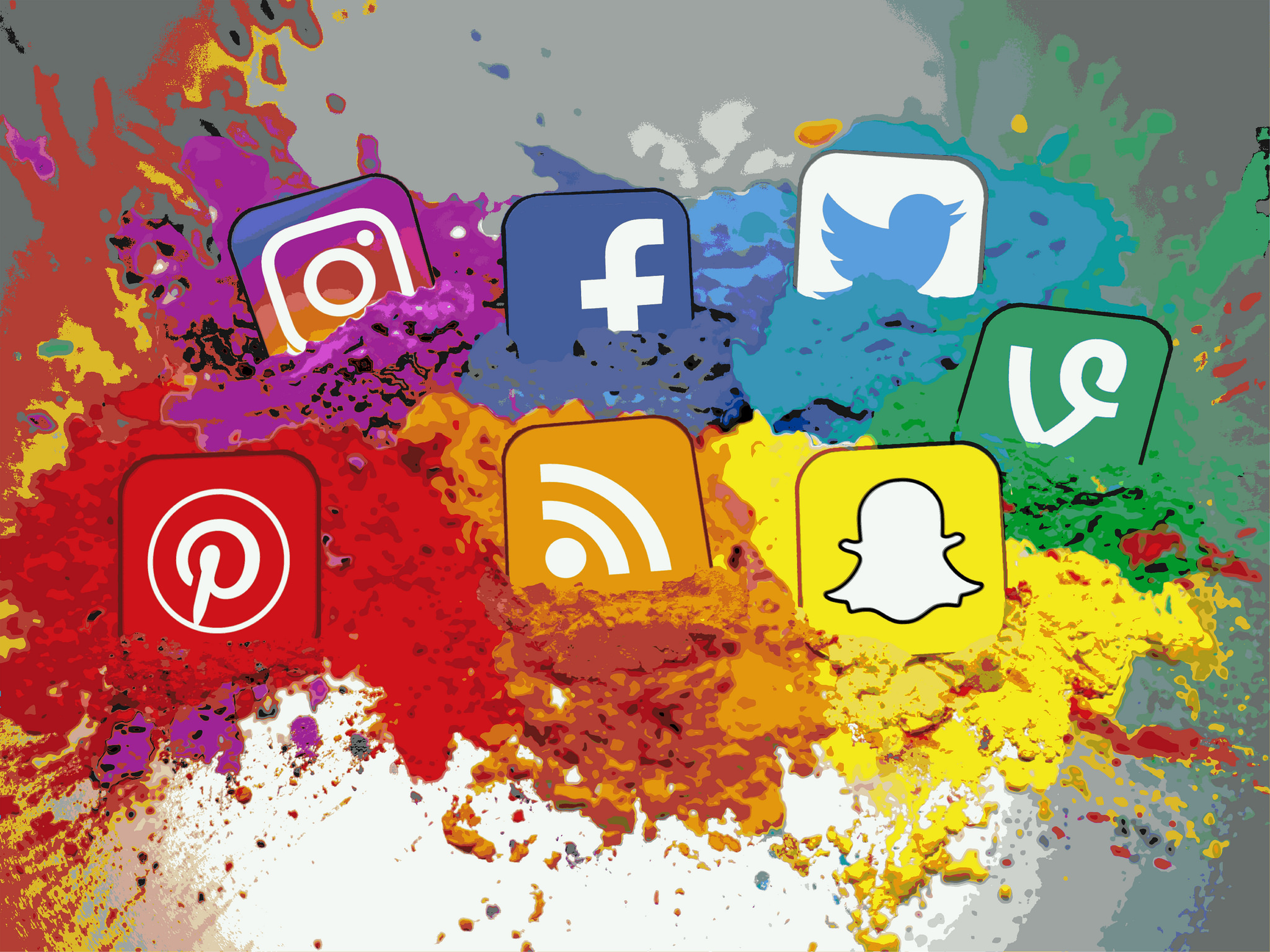 Social Media Icons Color Splash Montage - Landscape